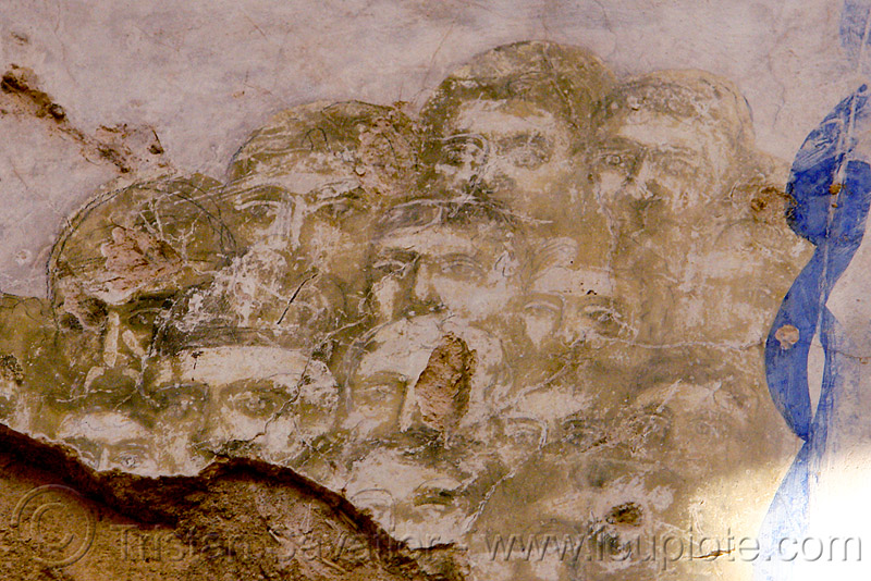 heads of saints - faded fresco in church ruin (turkey), byzantine, frescoes, georgian church, orthodox, orthodox christian, painting, religion
