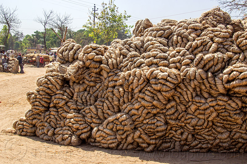heap of hemp rope skeins (india), ropes, west bengal