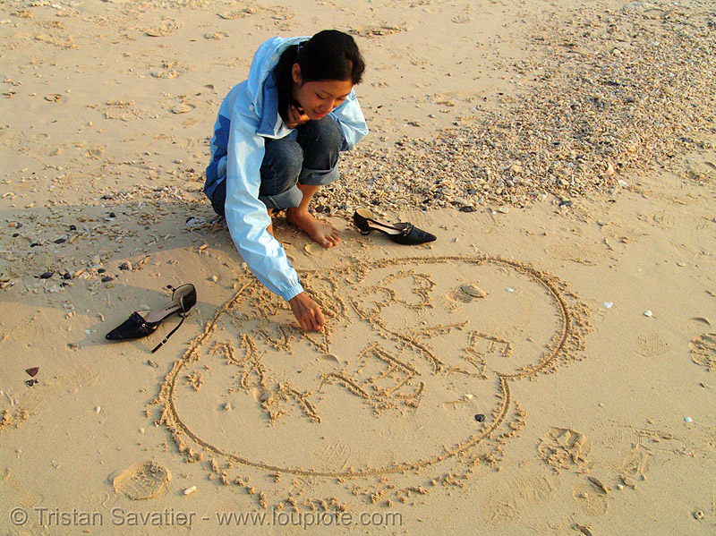 heart on sand, asian woman, beach, cat ba island, cát bà, graffiti, halong bay, i love you, sand, valentine's day, vietnam