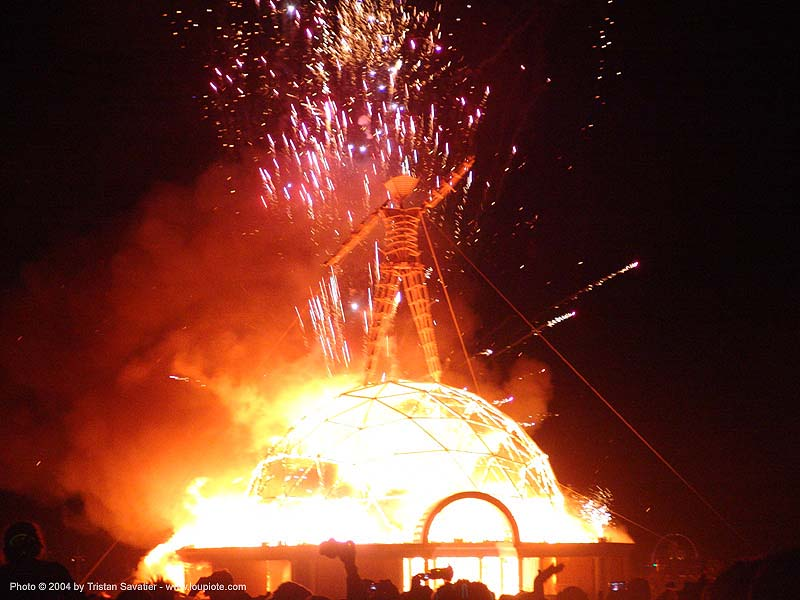 heil-the-man-burning-man-2004 - burning the man, art, burn, burning man, fire, fireworks, flames, night, pyrotechnics, the burn