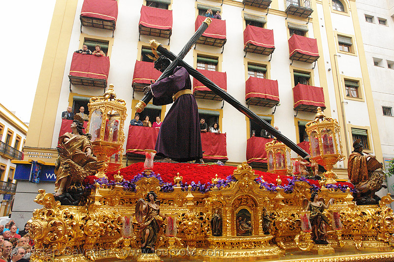 hermandad de los gitanos - semana santa en sevilla, candles, carrying, cross, easter, float, hermandad de los gitanos, paso de cristo, sacred art, semana santa, sevilla
