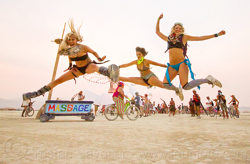 high flying girls - burning man 2013, burning man, chrissy, jump, jumpshot, massage, women