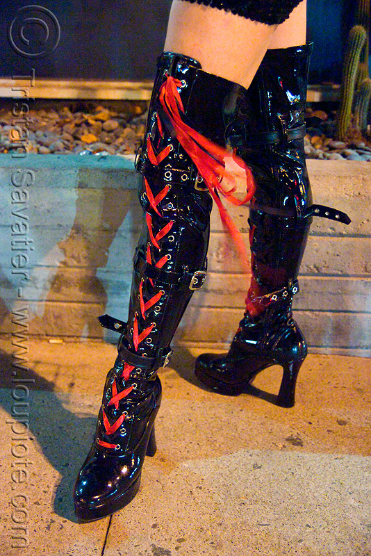 high heel boots with red laces, costume, halloween, high heel boots, legs, night, red laces
