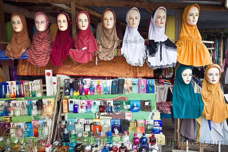 hijab shop - store dummies head display (borneo), borneo, heads, hijab, islam, islamic fashion, malaysia, muslim, perfume bottles, serikin, shop, store dummies, street market, women's apparel, حجاب