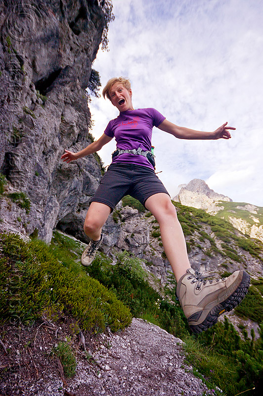 hiker running on mountain trail, austria, austrian alps, cliff, hiking, mountains, running, saalfelden, susi, trail, woman