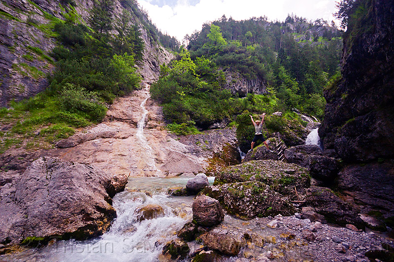 hiking to quellen buchweißbach near saalfelden (austria), austria, austrian alps, boulders, buchweißbach, creek, hiking, ladder, mountains, river, rock, saalfelden, stone, susi, via ferrata, water, woman