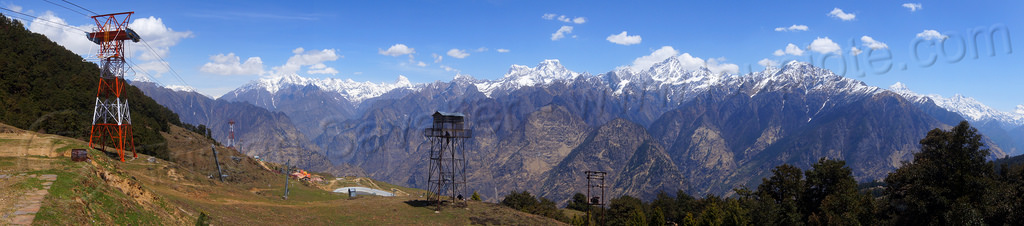 himalaya mountains panorama from auli ski resort (india), aerial lift pylon, haathi parvat, india, mountains, panorama, ski lift