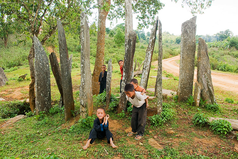 hin tang archaeological park - hua phan menhirs (laos), archaeology, cenotaph, child, hintang archaeological park, hintang houamuang, kids, megaliths, memorial stones, monoliths, people, san kong phanh, standing, standing stones