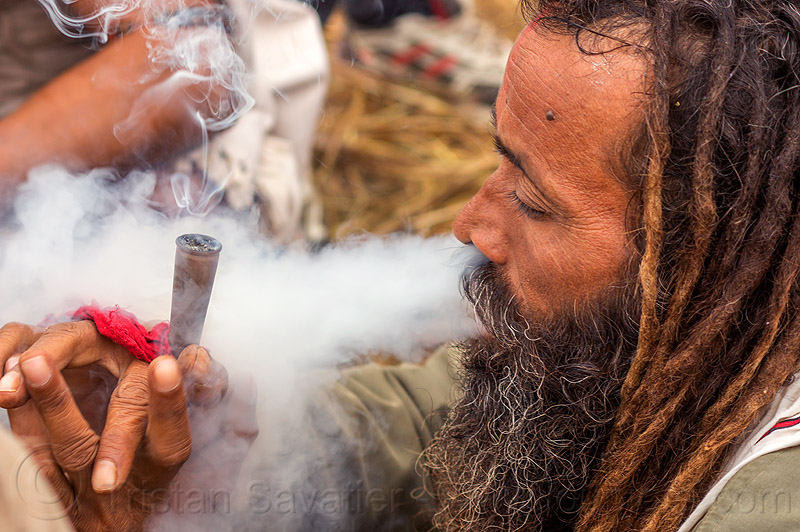 hindu baba smoking chillum of weed (cannabis), baba, beard, blowing, cannabis, chillum, dreadlocks, dreads, hindu, hinduism, kumbha mela, maha kumbh mela, man, marijuana, pipe, sadhu, smoking, thick smoke