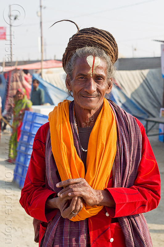 hindu baba with long dreadlocks (india), baba, bhagwa, dreadlocks, hindu pilgrimage, hinduism, india, maha kumbh mela, man, pilgrim, sadhu, saffron color, tilak