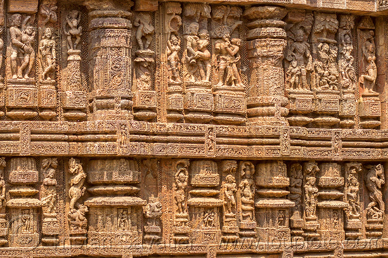 hindu erotic high-relief stone carvings - konark sun temple (india), erotic sculptures, high-relief, hindu temple, hinduism, india, konark sun temple, maithuna