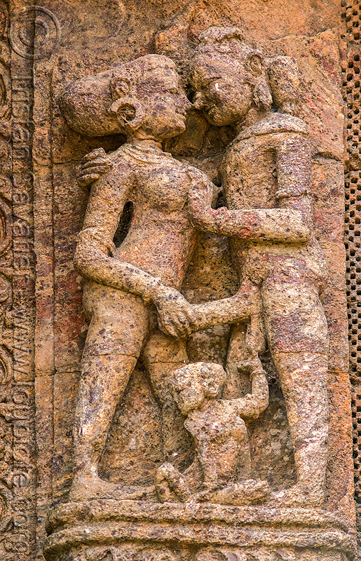 hindu erotic sculpture - konark sun temple (india), carving, erotic sculptures, high-relief, hindu temple, hinduism, maithuna, stone