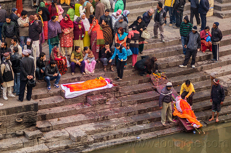 hindu funeral - corpses of the dead on ghat (nepal), cadaver, corpse, crowd, hinduism, lying in wake, maha shivaratri, pashupati, shroud, steps, washing, water