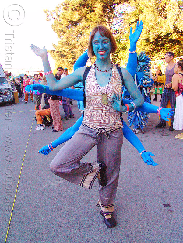 hindu goddess kali - burning man decompression 2005 (san francisco), arms, blue, burning man decompression, deity, goddess, hindu, hinduism, kali maa, woman