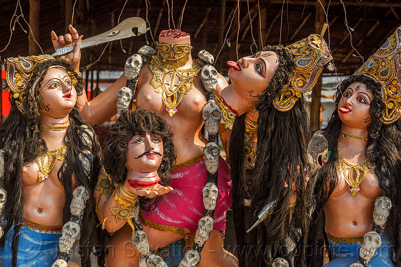 hindu goddess kali with severed heads drinking blood (india), beheaded, blood, decapitated, deities, drinking, goddess, gods, gore, gory, hindu pilgrimage, hinduism, india, kali maa, maha kumbh mela, sculpture, severed heads, statue