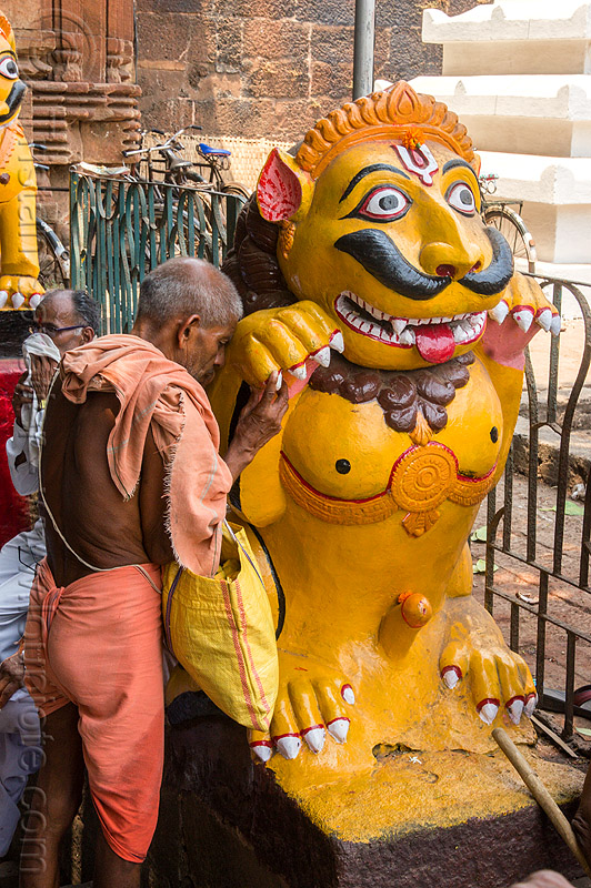 hindu man praying at mustachioed stone tiger (india), bhubaneswar, hindu temple, hinduism, india, lingaraj temple, lingaraja temple, man, mustache, painted, pilgrim, praying, sculpture, statue, sticking out tongue, sticking tongue out, stone tiger, tilak, yellow