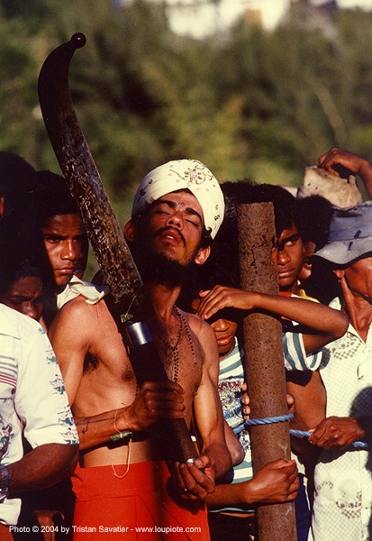 hindu man with machete, ceremony, hindu, hinduism, la reunion, machete, religion, reunion island, turban