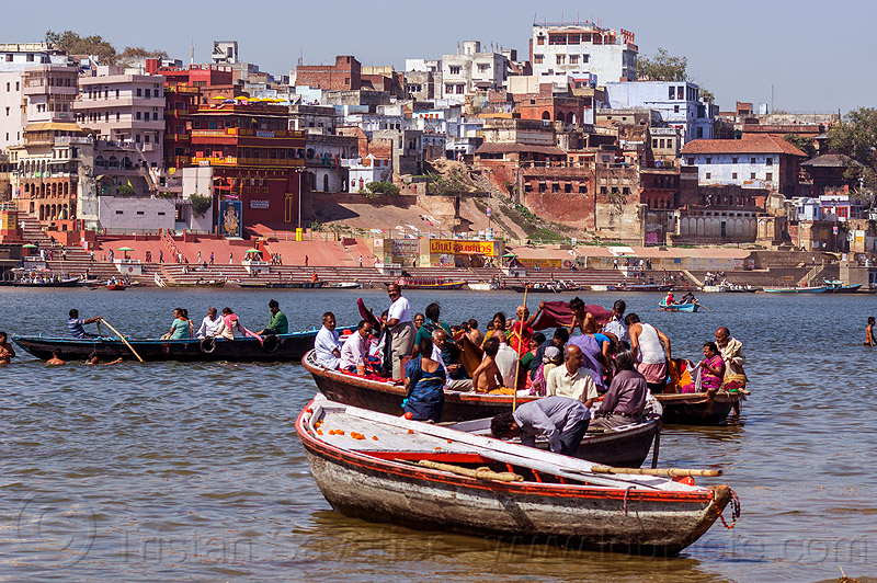 hindu pilgrims on boats - ghats of varanasi (india), ganga, ganges river, ghats, hindu, hinduism, india, pilgrims, river boat, rowing boat, small boat, varanasi
