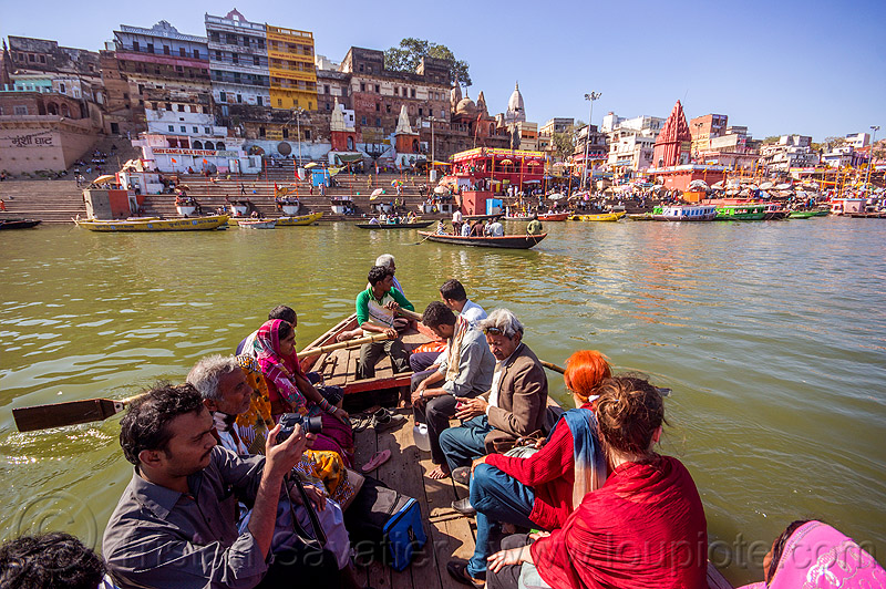 hindu pilgrims on river boat - ghats of varanasi (india), ganga river, ganges river, hindu, hinduism, pilgrims, river boat, rowing boat, small boat, varanasi, water