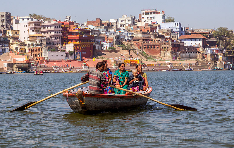 hindu pilgrims on row boat on the ganga river - varanasi (india), child, ganga river, ganges river, ghats, hindu, hinduism, kid, man, pilgrims, river boat, rowing boat, small boat, varanasi, water, women