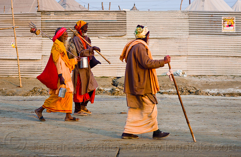 hindu pilgrims walking - kumbh mela 2013 (india), baba, cane, food boxes, hindu holy man, hinduism, kumbha mela, maha kumbh mela, men, pilgrims, sadhu, sticks, street, walking stick, yatri