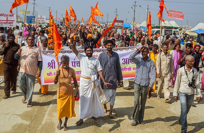 hindu procession at kumbh mela (india), banner, crowd, guru, hindu pilgrimage, hinduism, india, maha kumbh mela, orange flags, walking