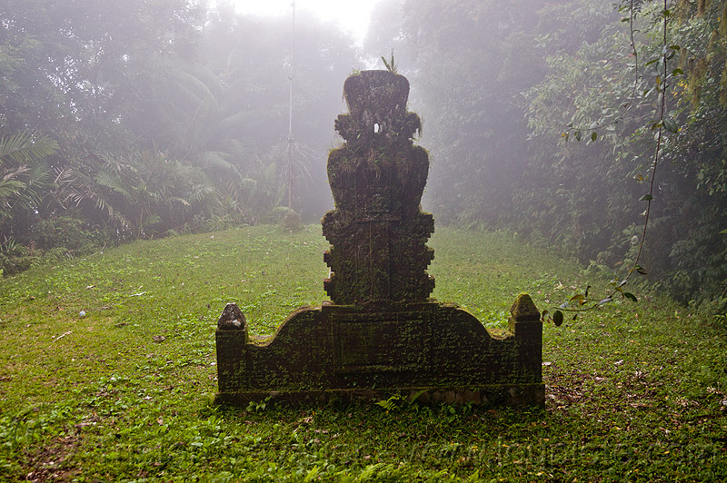 hindu shrine in the fog, bali, carved, clearing, foggy, forest, lempuyang, pura lempuyang, rainforest, stone, temple