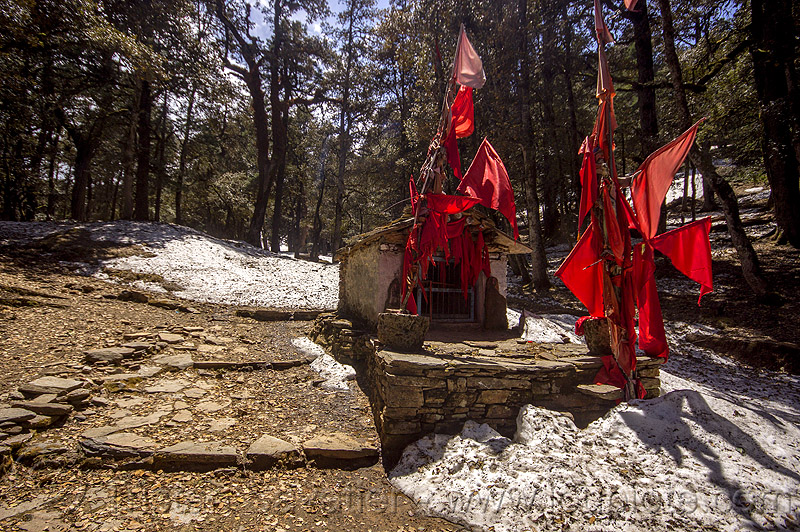 hindu shrine with red flags and snow in mountain forest (india), hinduism, mountains