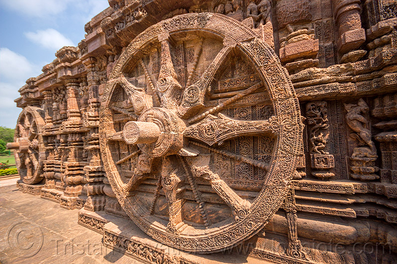 hindu stone wheels - konark sun temple (india), carving, hindu temple, hinduism, sculptures