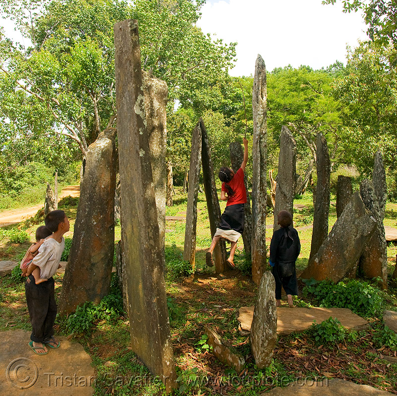 hintang archaeological park - huaphan menhirs (laos), archaeology, cenotaph, child, hintang houamuang, kids, megaliths, monoliths, people, san kong phanh, standing, standing stones