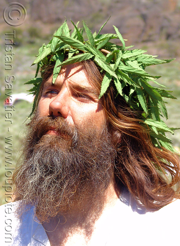 hippie jesus with weed crown - rainbow gathering, ganja, hemp, hippie, jesus christ, leaves, man, weed
