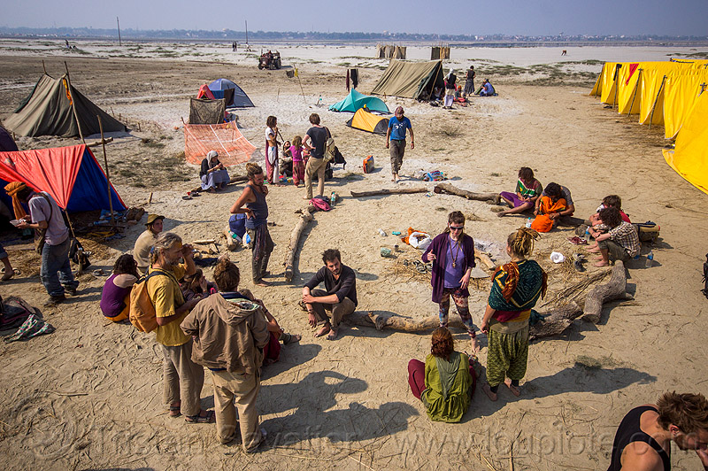 hippie rainbow camp at kumbh mela 2013, bun bun, camping, chelsea, crowd, hippies, kumbha mela, maha kumbh mela, people, tents