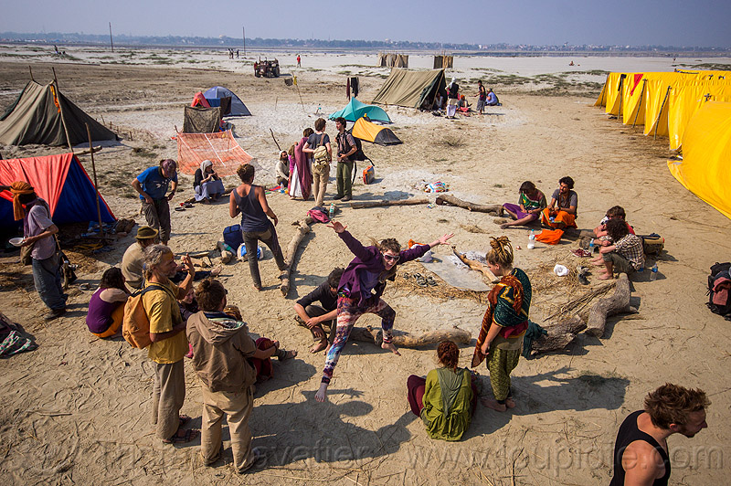 hippie rainbow camp at kumbh mela 2013, bun bun, camping, crowd, hindu pilgrimage, hinduism, hippie, india, maha kumbh mela, rainbow camp, tents