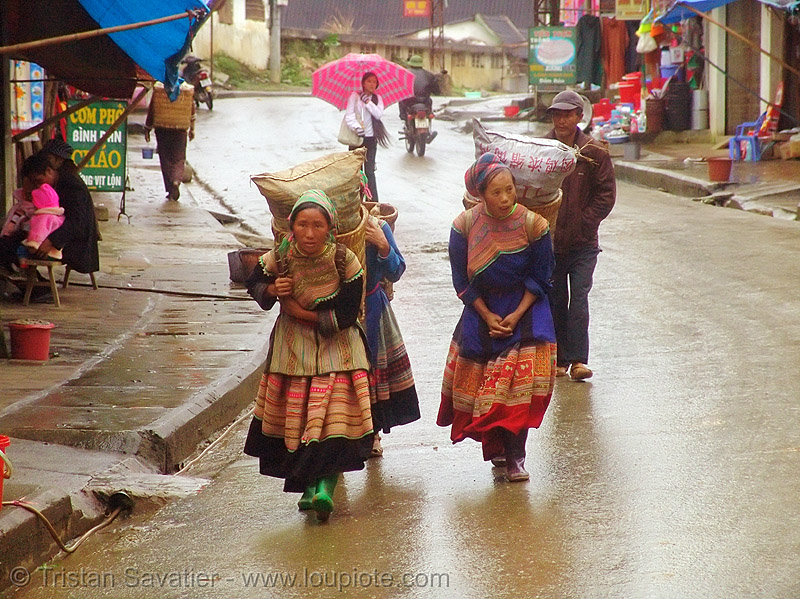 hmong women carrying large bags - vietnam, colorful, flower h'mong tribe, flower hmong, hill tribes, indigenous, vietnam