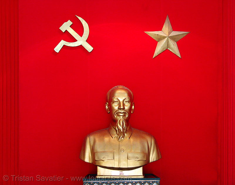 ho chi minh monument - vietnam, army museum, bust, communism, communist, golden color, hammer and sickle, hanoi, ho chi minh, monument, red, sculpture, star, statue