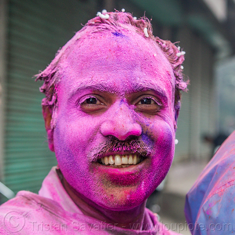 holi festival of colors (india), dye, hindu, man, people, powder, purple, west bengal