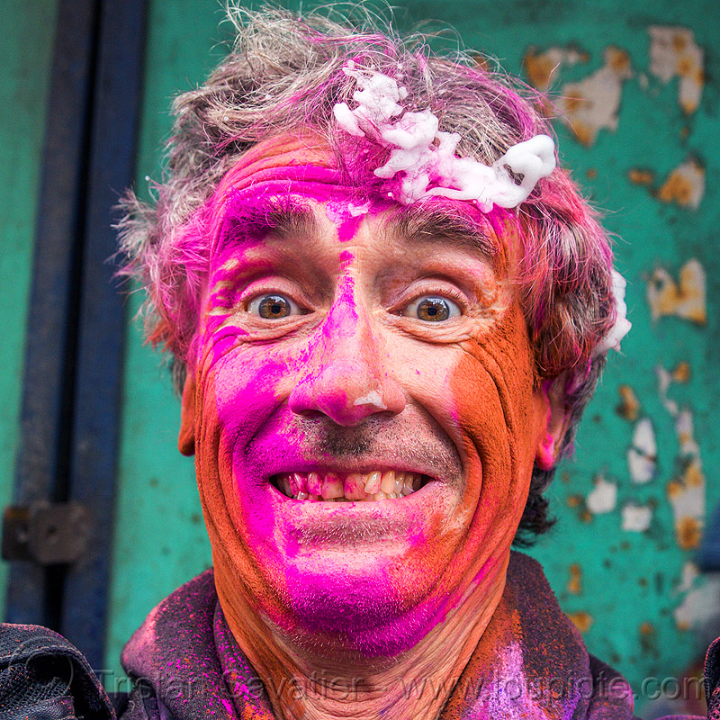 holi festival of colors (india), dye, man, people, pink, powder, purple, red, selfie, selfportrait, tristan savatier, west bengal