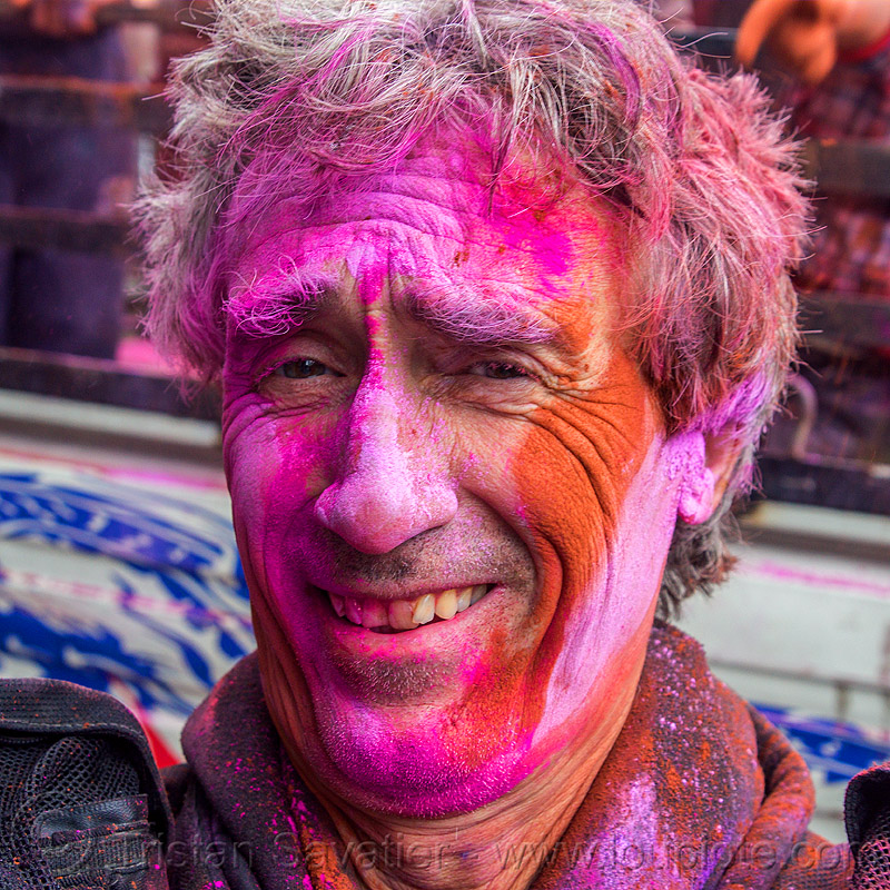 holi festival of colors (india), dye, holi festival, man, pink, powder, purple, red, selfie, selfportrait, tristan savatier, west bengal