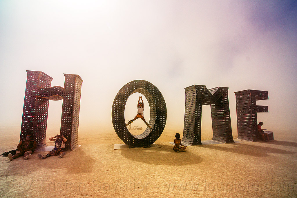 home - giant letters sculpture -  burning man 2016, @earth #home, art installation, big words, burning man, metal sculpture, steel