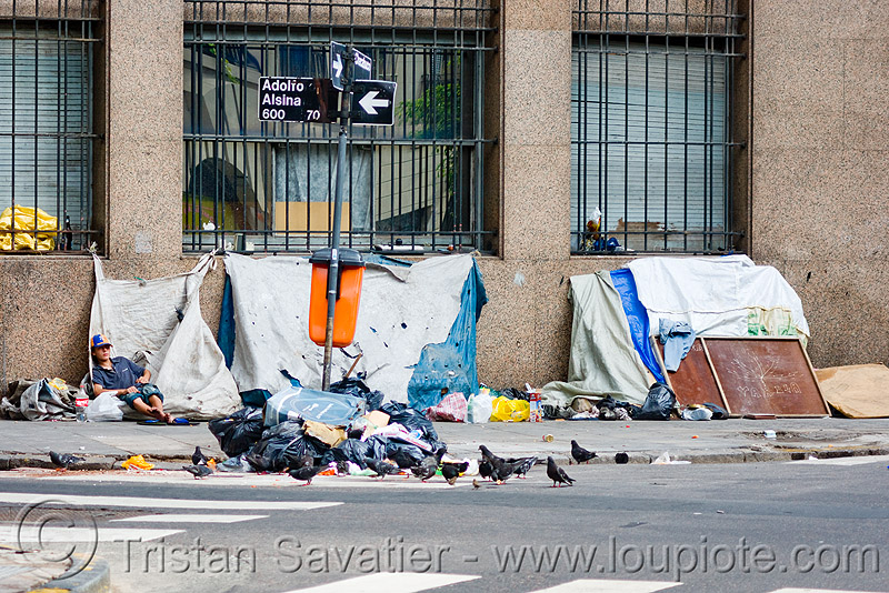 homeless camp in the street (buenos aires), encampment, people
