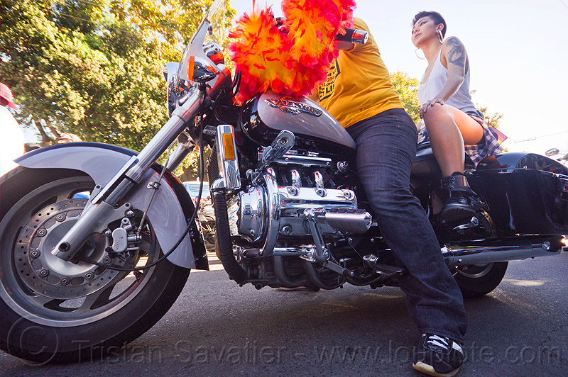 honda valkyrie - dykes on bikes, 1500cc, dolores park, feather boa, gay pride, gay pride festival, motorbike, motorcycle, people, women
