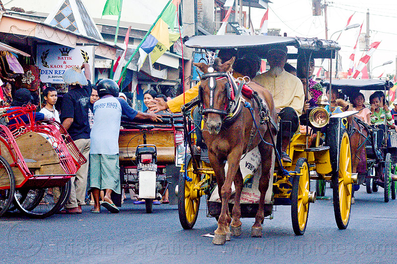 horse carriages in the street in jogja, carriage, draft horse, draught horse, horse carriage, java, jogjakarta, people, yogyakarta