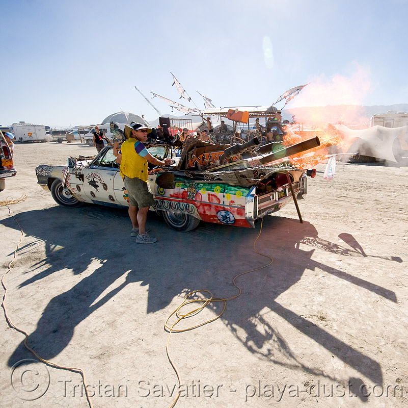 the horse cow car shooting flaming teddy bears - burning man 2008, art car, canons, flames, horse cow