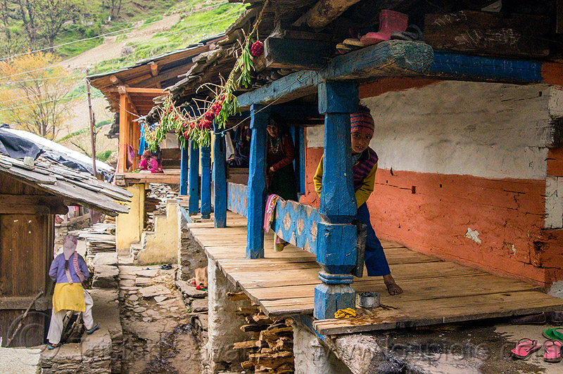 house in himalayan village (india), blue, boy, child, house, india, janki chatti, kid, painted, village, woman