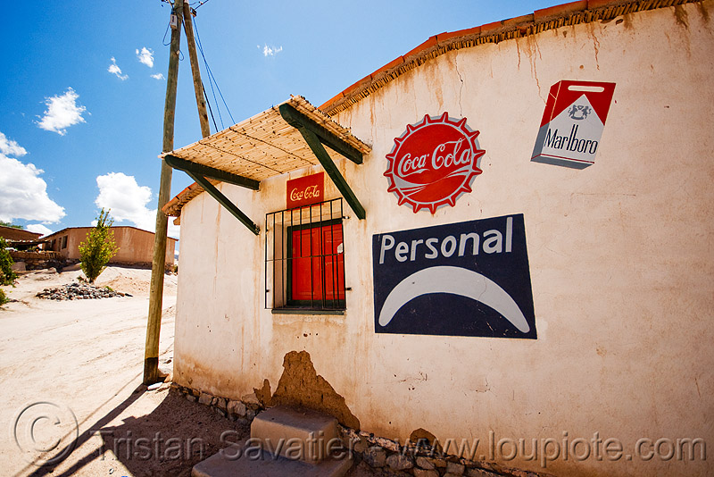 house in a remote village - calchaquí valleys - valles calchaquíes - cafayate (argentina), cafayate, calchaquí valley, coca-cola, house, logos, marlborow, molinos, noroeste argentino, painted, valles calchaquíes, wall