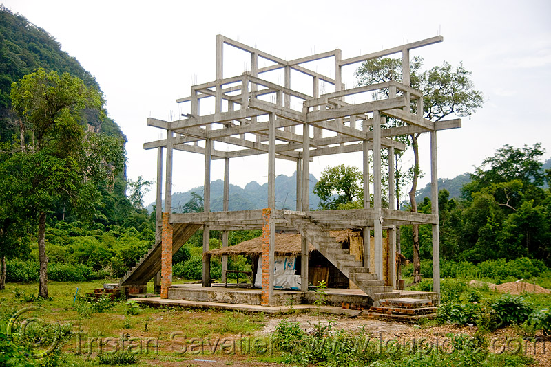 house upgrade (laos), building construction, concrete beams, concrete frame, house construction, house frame, hut, laos