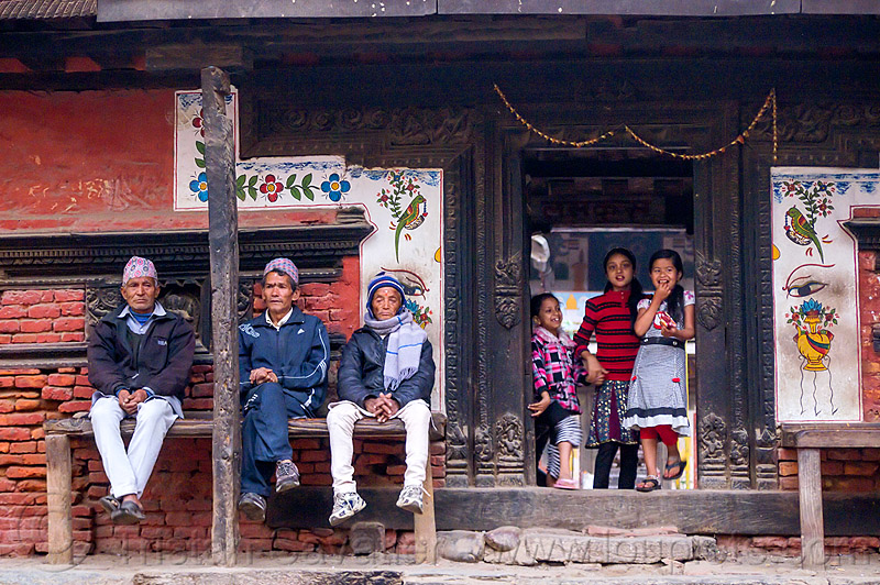 house with three men and three girls - patan (nepal), bench, door, house, men, patan, sitting