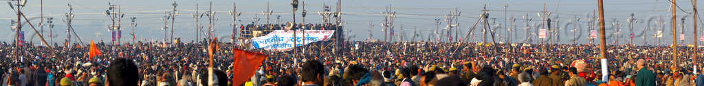 huge crowd of hindu devotees gather at the kumbh mela (india), crowd, hindu pilgrimage, hinduism, india, kumbh maha snan, maha kumbh mela, mauni amavasya, panorama, triveni sangam