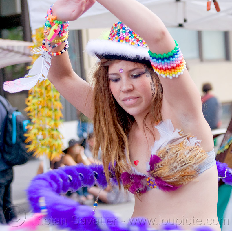 hula hooper with feather bra, beads, bracelets, carnival bra, clothing, fashion, festival, fuzzy hulahoop, how weird festival, kandi, kandi kid, kandi raver, melanie, people, plur, purple, woman