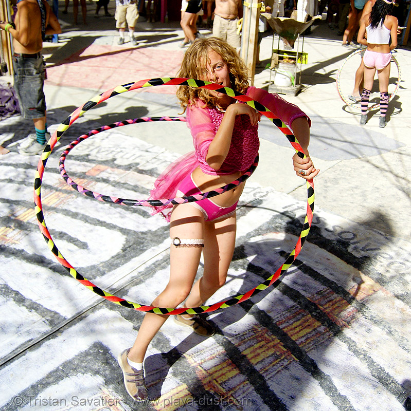 hula hoops - burning man 2007, burning man, center camp, hula hoops, woman